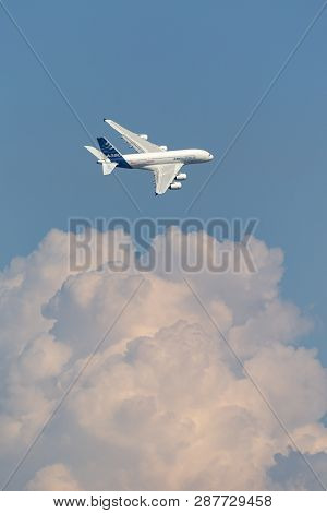 Payerne, Switzerland - September 6, 2014: Airbus A380-841 Large Four Engined Commercial Airliner Air
