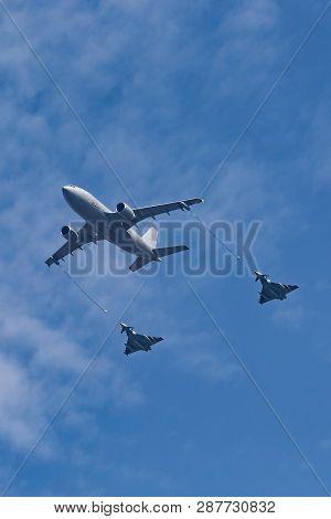 Payerne, Switzerland - September 7, 2014: German Air Force (luftwaffe) Airbus A310-304 Aerial Refuel