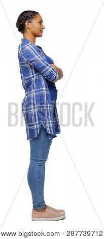 Side view of an African-American woman in a shirt. girl  watching. Rear view people collection.  backside view of person. Isolated over white background. A black girl stands with her arms crossed.