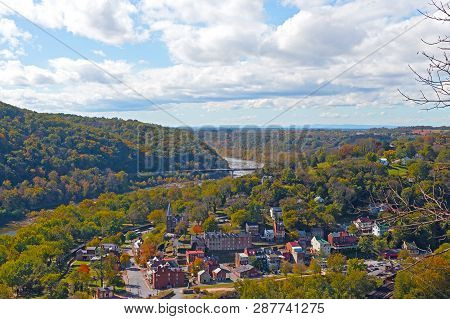 A View On Harpers Ferry Historic Town From A High Point. West Virginia Landscape In Autumn With Harp
