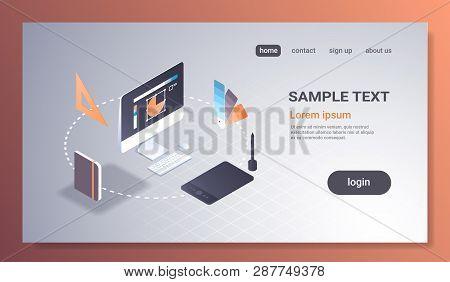 Creative Graphic Web Design Project Concept Computer Monitor Screen User Interface Creativity Digita