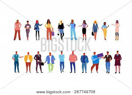 Set Stylish Business People Wearing Fashionable Different Office Workers Business Women Men Standing