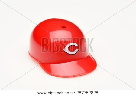 Irvine, California - February 28, 2019:  Closeup Of A Mini Collectable Batters Helmet For The Cincin