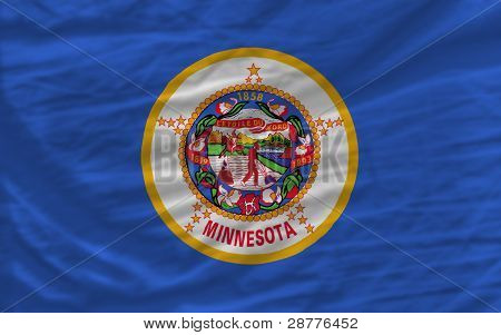 Complete Waved Flag Of American State Of Minnesota For Background