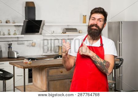 Cooking Is My Life. Bearded Man In Red Apron. Restaurant Or Cafe Cook. Hipster In Kitchen. Mature Ma