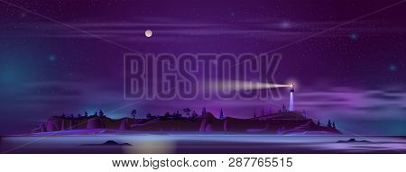 Vector Background With Lighthouse At Night - Building On The Hill With Searchlight, Illuminated Shor