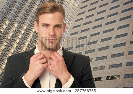 Businessman In Modern Life. Successful Life Of Modern Businessman. Businessman Realtor On Modern Bui