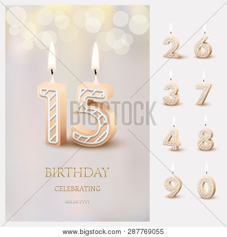 Burning Number 15 Birthday Candles With Birthday Celebration Text On Light Blurred Background And Bu