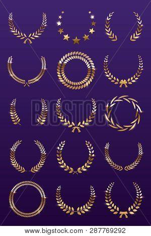 Golden Laurel Wreaths On Violet Background. Set Of Foliate Award Wreath For Championship Or Cinema F