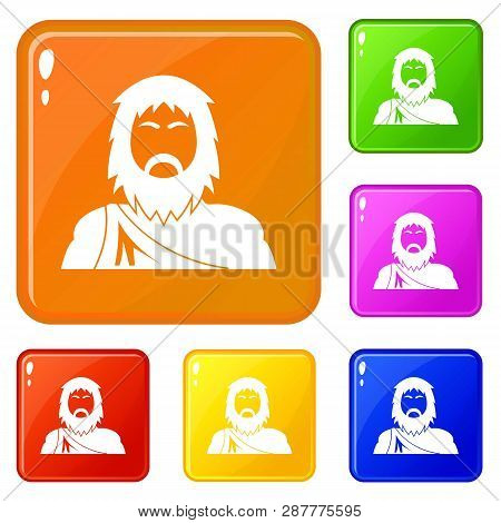 Neanderthal Icons Set Collection Vector 6 Color Isolated On White Background