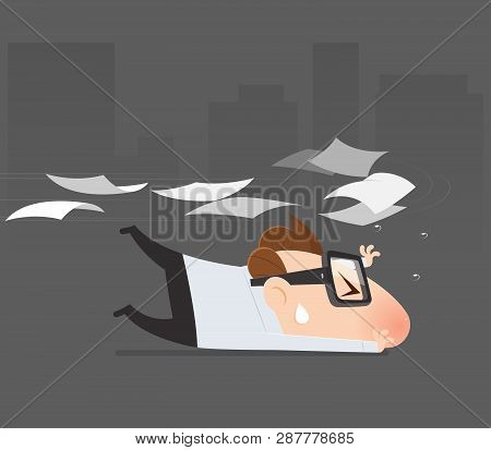 Cartoon Businessman Avoid From Expenditure, Tax Return, Vector Illustration