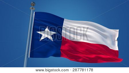 Fluttering Silk Flag Of Texas, United States Of America. Texas Official Flag In The Wind Against Cle