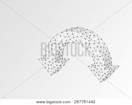 Two Joined Arrows Pointing Down Symbol. Wireframe Digital 3d Illustration. Low Poly Download, Downtr