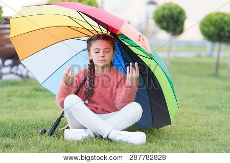 Find Peaceful Private Space To Relax. Under Big Umbrella. Girl Child Long Hair Meditate Park Under U