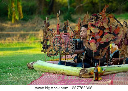 Ratchaburi, Thailand : January 20, 2019 - Traditional Leather Puppets Show, Called Nung Ta Lung Perf