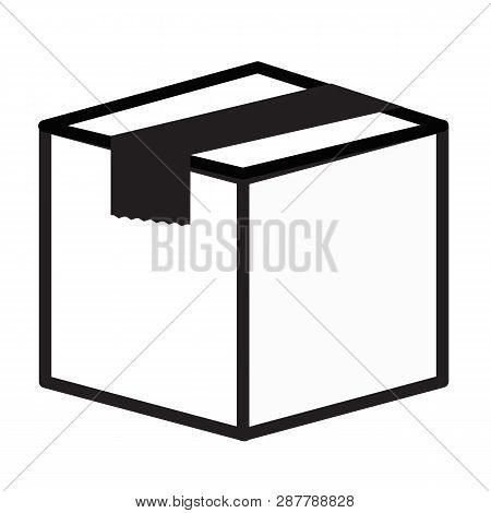 Closed Cube Box Icon On White Background. Flat Style. Closed Cube Box Icon For Your Web Site Design,