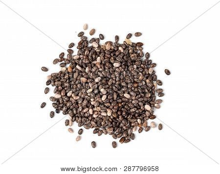 Chia Seeds On White Background Top View. Pile Of Healthy Chia Seeds Isolated On White With Clipping