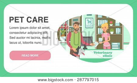 Veterinary Clinic Landing Page Vector Template. Dog Lover, Husky And Nurse Cartoon Characters. Anima