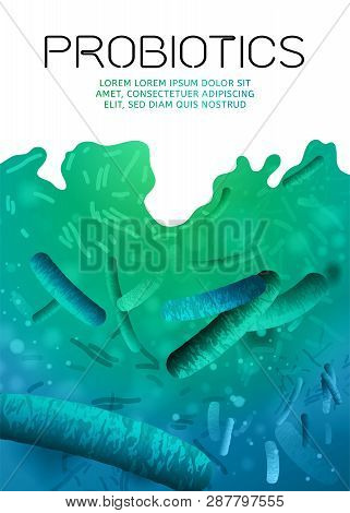 Probiotics, prebiotics. Normal gram-positive anaerobic microflora background. Editable vertical vector illustration in bright blue colors. Realistic style. Medical, healthcare and scientific concept poster