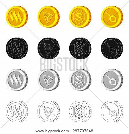 Vector Illustration Of Cryptocurrency And Coin Sign. Set Of Cryptocurrency And Crypto Stock Symbol F