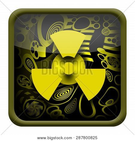 Radioactive Glossy Button Isolated On White Background