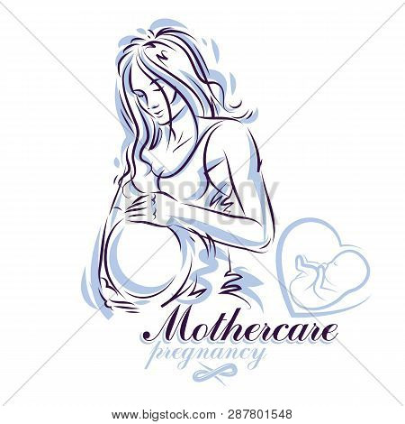 Elegant pregnant woman body silhouette drawing. Vector illustration of mother-to-be fondles her belly. Obstetrics and gynecology clinic advertising banner poster