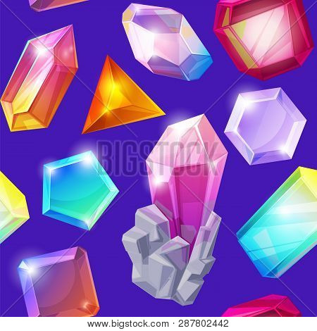 Crystal Stone Vector Crystalline Gem And Precious Gemstone For Jewellery Illustration Set Of Jewel O