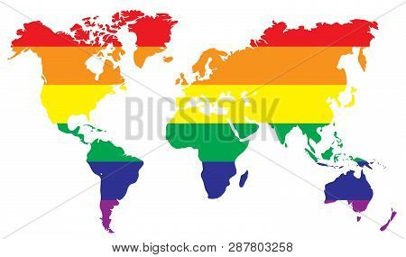 Rainbow World Map. Earth Colorful Map Template. Lgbt Symbol. Homosexual Love Emblem. Gay Sign. Sexua