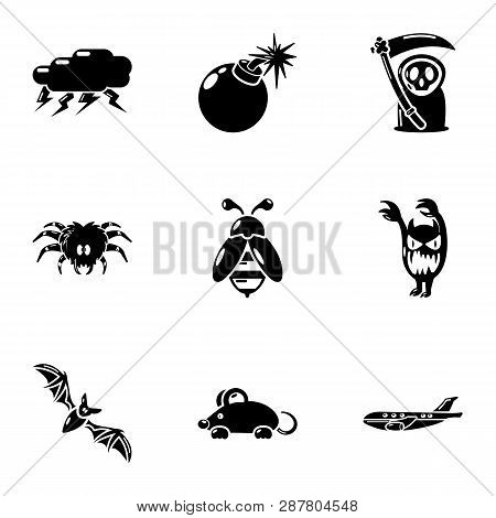 Lethally Icons Set. Simple Set Of 9 Lethally Icons For Web Isolated On White Background
