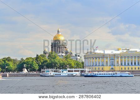 Russia. Beautiful Quay In St. Petersburg In A Sunny Summer Day