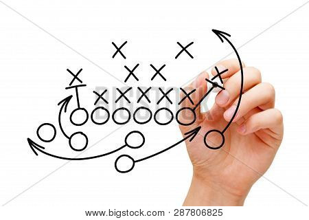 Coach Drawing American Football Or Rugby Game Playbook, Tactics And Strategy With Black Marker On Wh