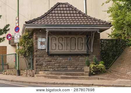 Essen; Nrw; Germany - June 01; 2017: Small Kiosk Closed Due To Business Task.