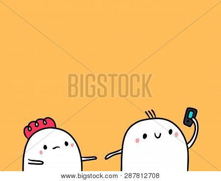 Cute Marshmallow Couple And Smartphone Hand Drawn Illustration