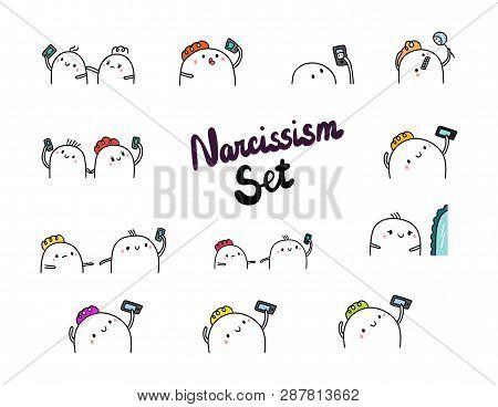 Narcissism Set Hand Drawn Illustrations Cartoon Minimalism