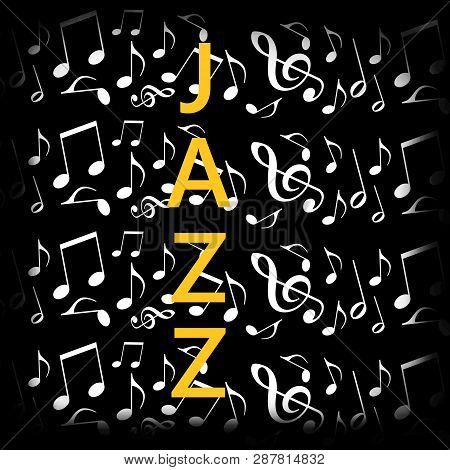 Jazz Black Background With Dancing Musical Notes