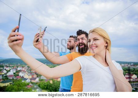 We Are All Individuals. People Enjoy Selfie Shooting On Nature. Best Friends Taking Selfie With Came