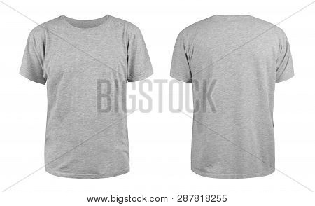 Men Grey Blank T-shirt Template,from Two Sides, Natural Shape On Invisible Mannequin, For Your Desig