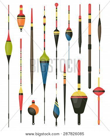 Set Of Isolated Fisherman Bobber Or Angler Hook. Float For Rod Or Water Tackle, Plastic Fish Bait. S