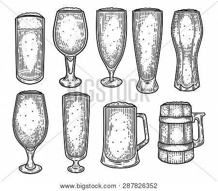 Set Of Isolated Sketches Of Glassware Or Ceramic Beer Mug Or Cup. Drink With Foam Or Alcohol Beverag