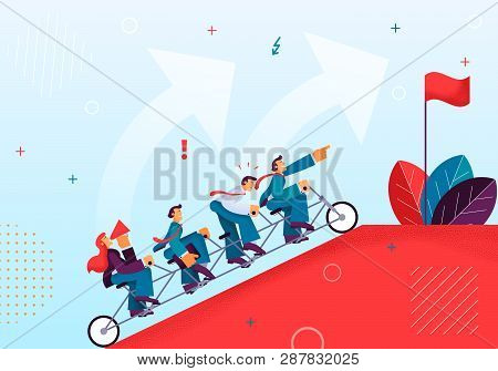 Joint Efforts Working Team to Achieve Target. Vector Illustration Red Mountain Top Riding Single Bike Men in Business Suits Women Commanding with Horn. Top Mountain is Red Flag Against Blue Sky. poster