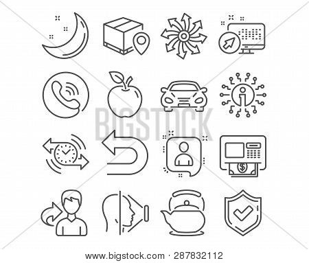 Set of Undo, Atm and Parcel tracking icons. Versatile, Teapot and Developers chat signs. Car, Timer and Face id symbols. Left turn, Money withdraw, Package location pin. Vector poster