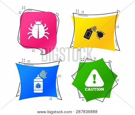 Bug Disinfection Icons. Caution Attention Symbol. Insect Fumigation Spray Sign. Geometric Colorful T