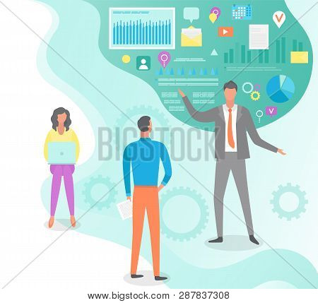 People Listening To Boss Vector, Social Media Icons, Infographics And Visualized Data. Ceo Manager,
