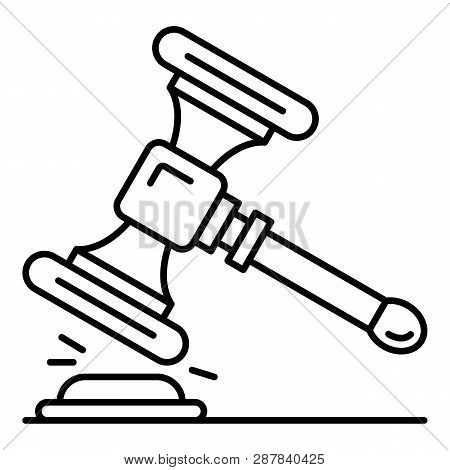 Wood Gavel Icon. Outline Wood Gavel Icon For Web Design Isolated On White Background