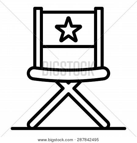 Vblog Director Chair Icon. Outline Vblog Director Chair Icon For Web Design Isolated On White Backgr