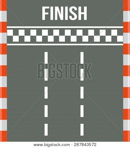 Race Finish Top View. Road With Finish Line. Finish Line Racing. Vector Stock