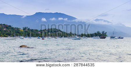 Brazil, Ilha Bela -december 20th, 2017 ;  Luxury Yachts At The Marina, Ilha Bela In The State Of Sao