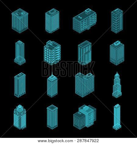 Vector Isometric Holography City Building Set. Vector Isometric City Building Icon Isolated On Black