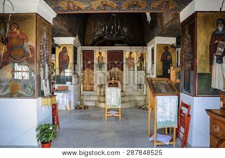 Athens, Greece - June 24, 2017: Inside Of The Saint Georges Chapel, Mount Lycabettus, Athens, Greece
