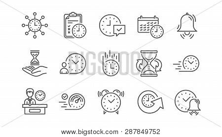 Time Line Icons. Calendar, Time Management And Delivery. Hourglass Linear Icon Set.  Vector